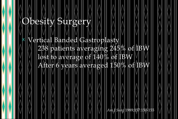 Obesity Surgery <ul><li>Vertical Banded Gastroplasty 238 patients averaging 245% of IBW lost to average of 140% of IBW Aft...