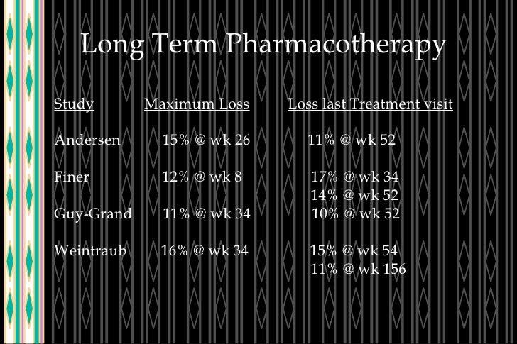 Long Term Pharmacotherapy Study   Maximum Loss   Loss last Treatment visit Andersen  15% @ wk 26  11% @ wk 52 Finer  12% @...
