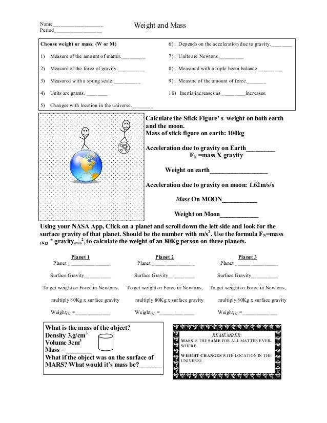 Weight mass ws1 – Mass Vs Weight Worksheet