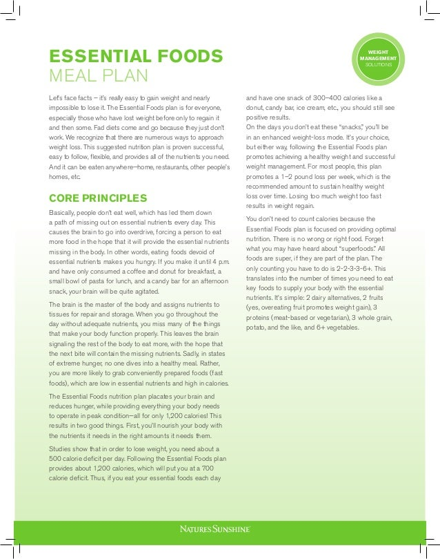 ESSENTIAL FOODS MEAL PLAN Let's face facts – it's really easy to gain weight and nearly impossible to lose it. The Essenti...