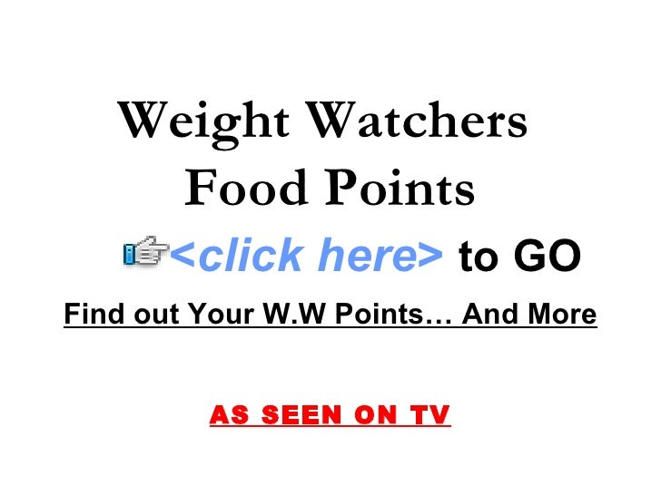 weight watchers food points