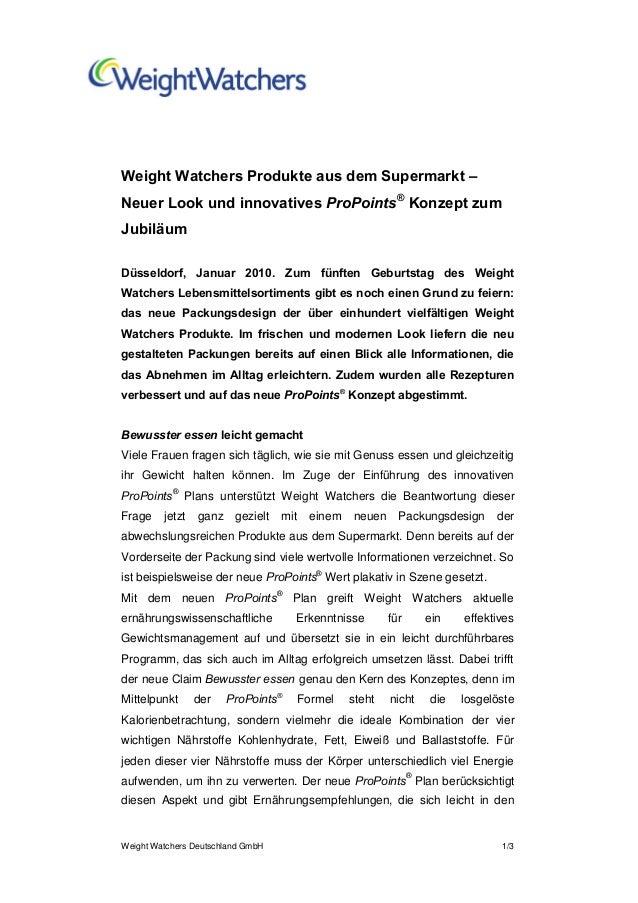 Weight Watchers Deutschland GmbH 1/3Weight Watchers Produkte aus dem Supermarkt –Neuer Look und innovatives ProPoints®Konz...