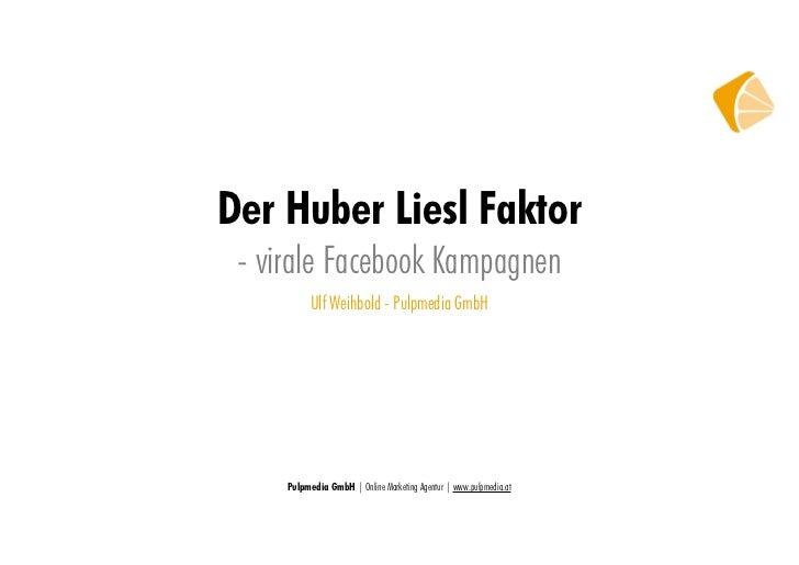 Der Huber Liesl Faktor - virale Facebook Kampagnen           Ulf Weihbold - Pulpmedia GmbH     Pulpmedia GmbH   Online Mar...