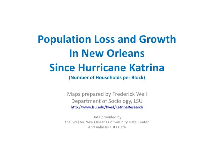 Population Loss and GrowthIn New OrleansSince Hurricane Katrina(Number of Households per Block)<br />Maps prepared by Fred...