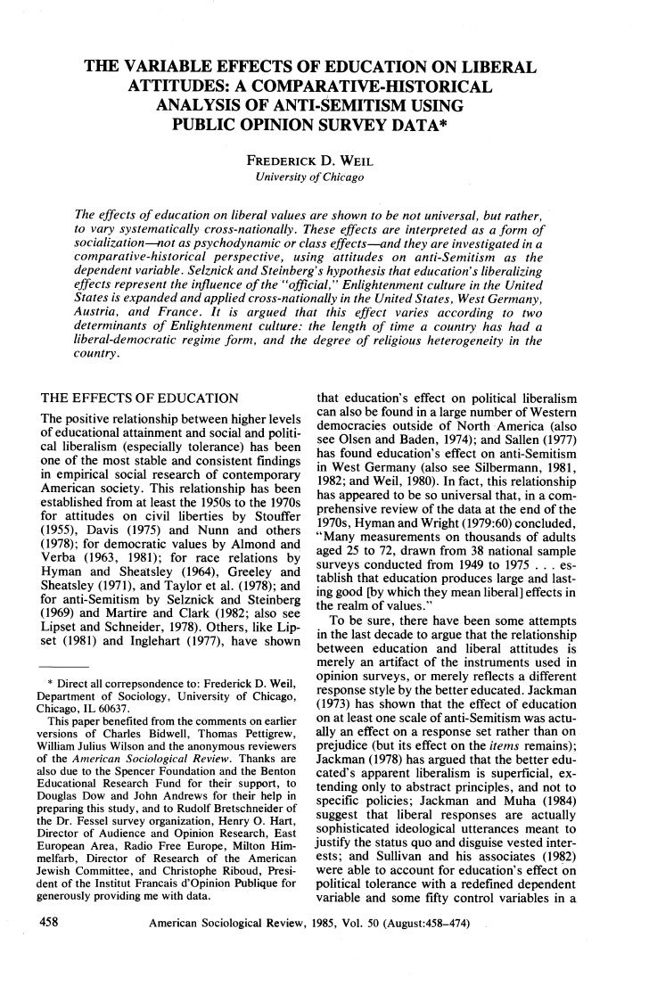 Weil, 1985, The Variable Effects Of Education On Liberal Attitudes: Analysis Of Antisemitism, ASR