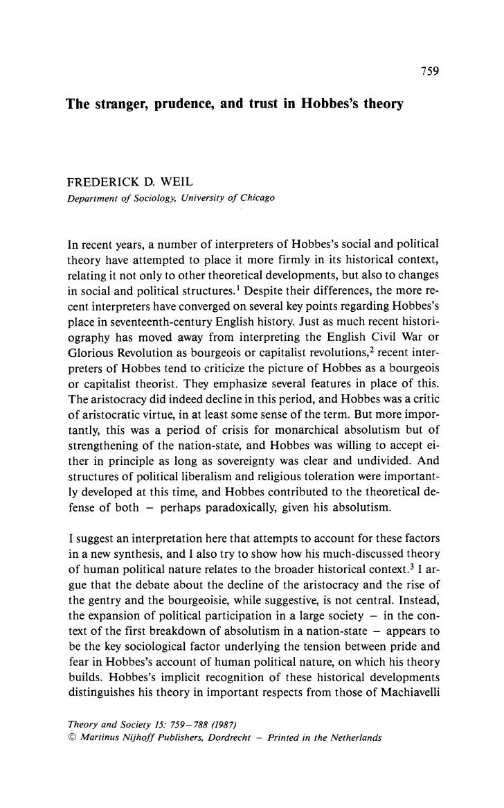 759  The stranger, prudence, and trust in Hobbes's theory     FREDERICK D. WEIL Department of Sociology, University of Chi...