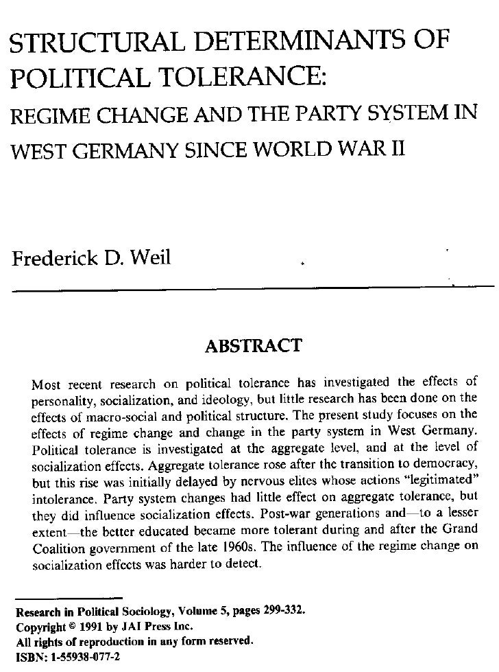 Weil, 1991, structural determinants of political tolerance in germany, rps
