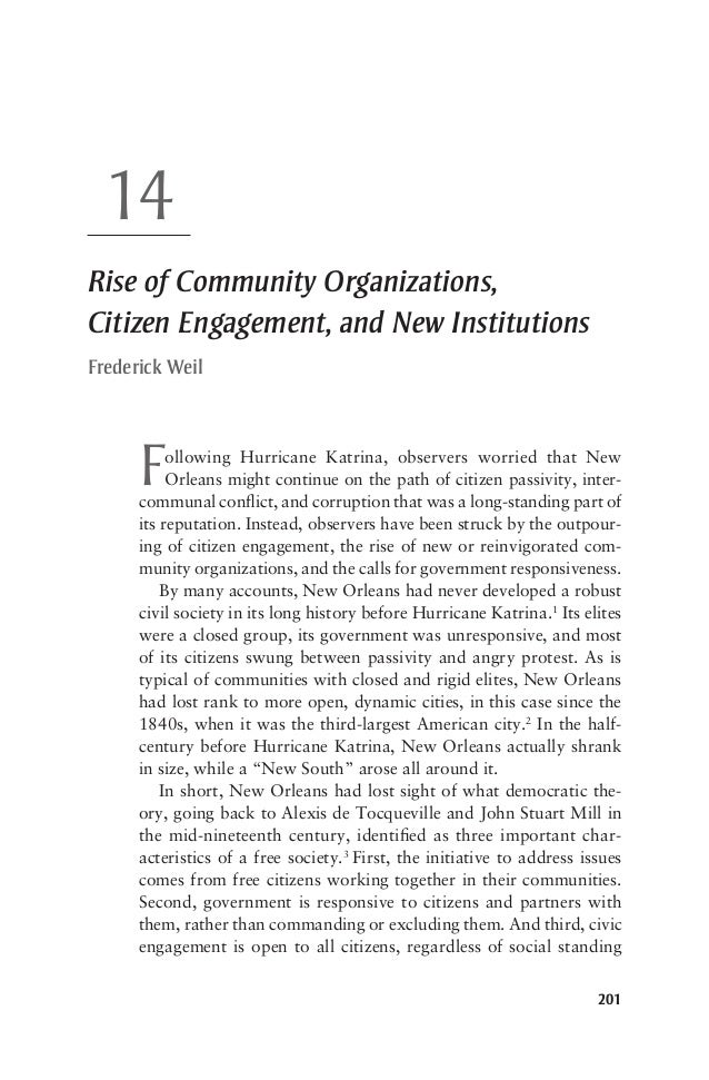 20114Rise of Community Organizations,Citizen Engagement, and New InstitutionsFrederick WeilFollowing Hurricane Katrina, ob...