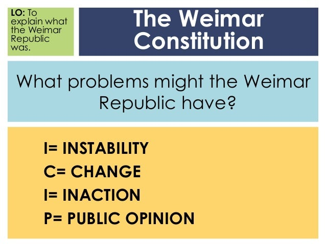 explain the collapse of the weimar Many have seen the fall of the weimar republic as inevitable, however, it could  have succeeded but for the economic calamity of the 'great depression.