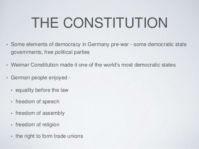 the weimar constitution essay Immediately download the describe the four main areas of the weimar constitution summary, chapter-by-chapter analysis, book notes, essays, quotes, character descriptions, lesson plans, and.