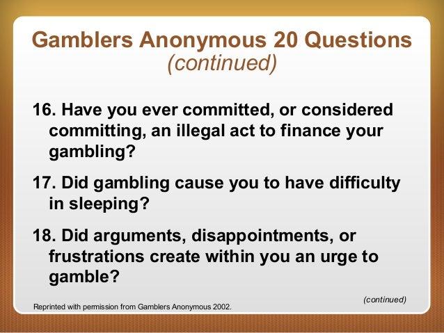 Gambling addiction 20 questions niagara falls casino theatre