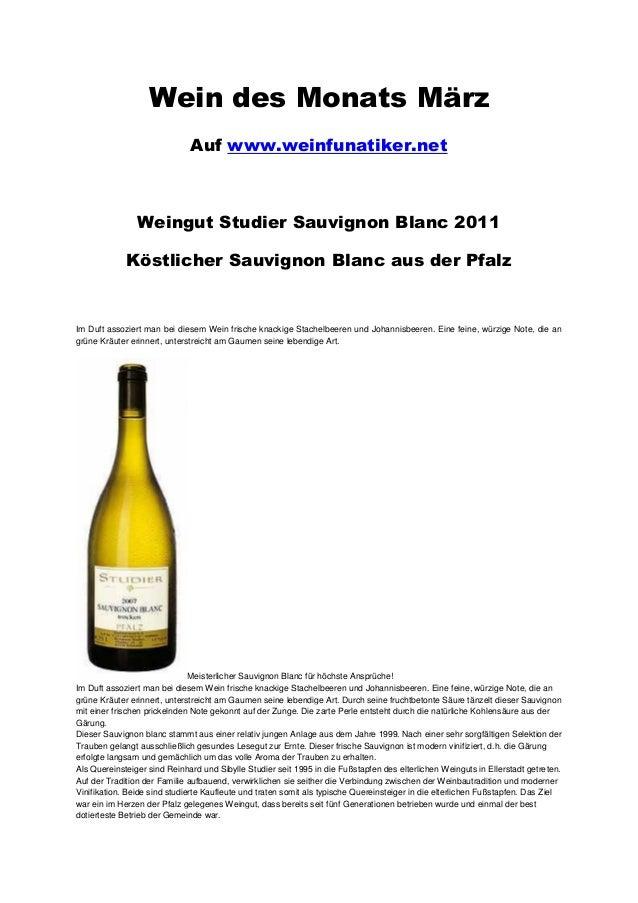 Wein des Monats März                              Auf www.weinfunatiker.net                Weingut Studier Sauvignon Blanc...