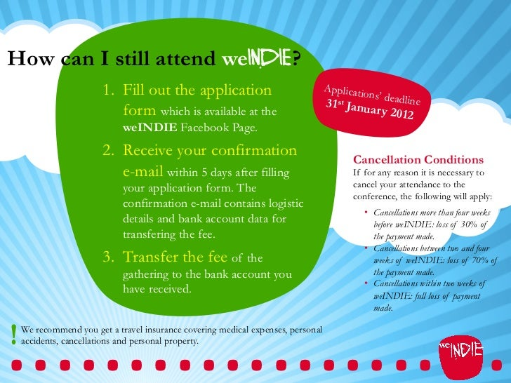 How can I still attend weINDIE?                        1. Fill out the application                              Applicati...
