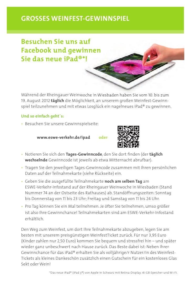 GROSSES WEINFEST-GEWINNSPIELBesuchen Sie uns aufFacebook und gewinnenSie das neue iPad®*!Während der Rheingauer Weinwoche ...