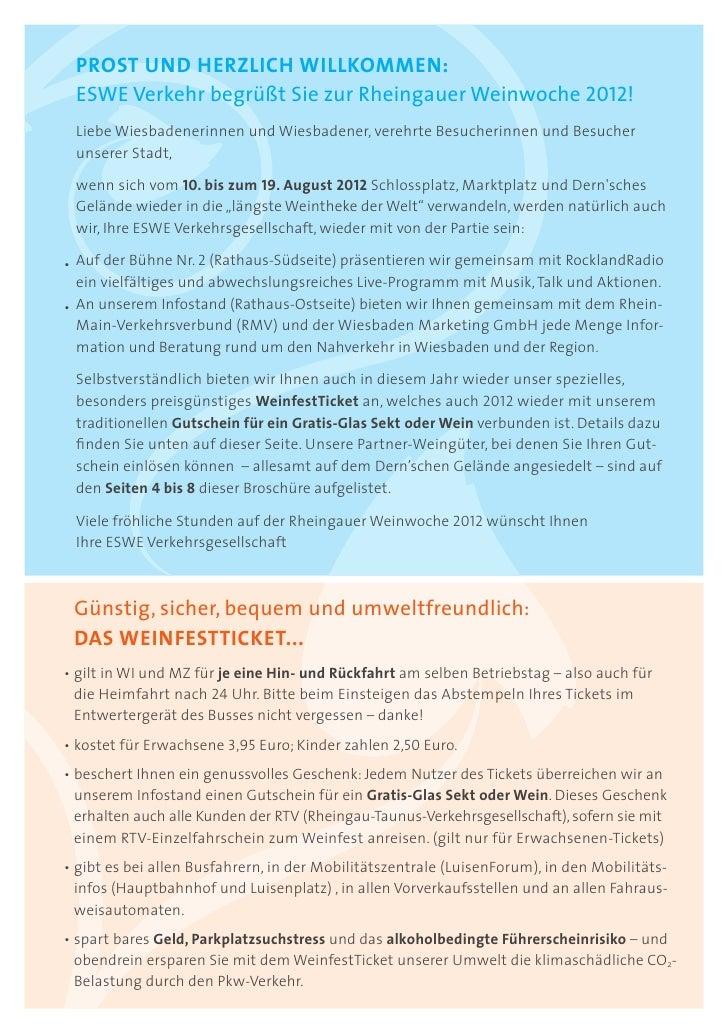 PROST UND HERZLICH WILLKOMMEN: ESWE Verkehr begrüßt Sie zur Rheingauer Weinwoche 2012! Liebe Wiesbadenerinnen und Wiesbade...