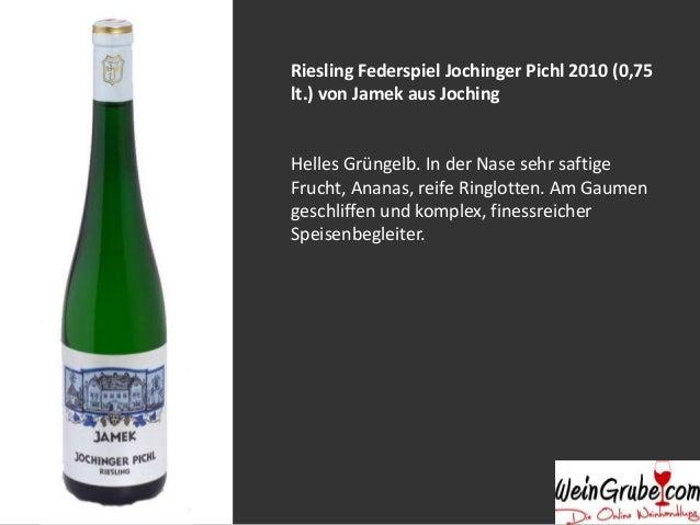Grüner Veltliner Smaragd Liebenberg 2012 (0,75 lt.) von Jamek aus Joching Helles Grüngelb. In der Nase sehr exotische Fruc...