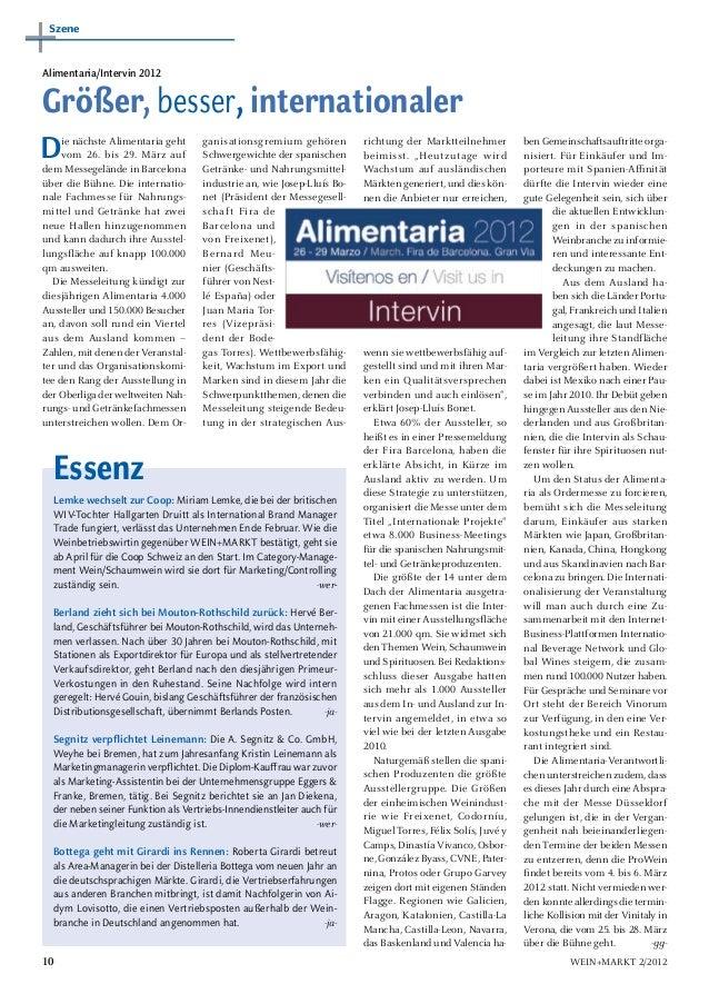 SzeneAlimentaria/Intervin 2012Größer, besser, internationalerD    ie nächste Alimentaria geht     vom 26. bis 29. März auf...