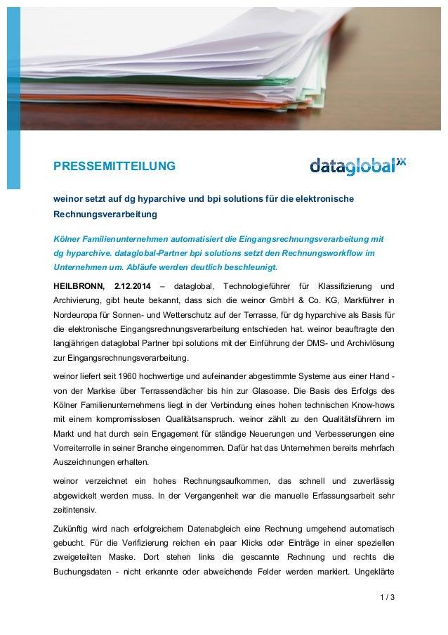 PRESSEMITTEILUNG  1 / 3  weinor setzt auf dg hyparchive und bpi solutions für die elektronische  Rechnungsverarbeitung  Kö...