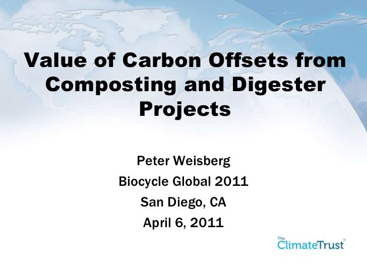 Value of Carbon Offsets from Composting and Digester Projects<br />Peter Weisberg<br />Biocycle Global 2011<br />San Diego...