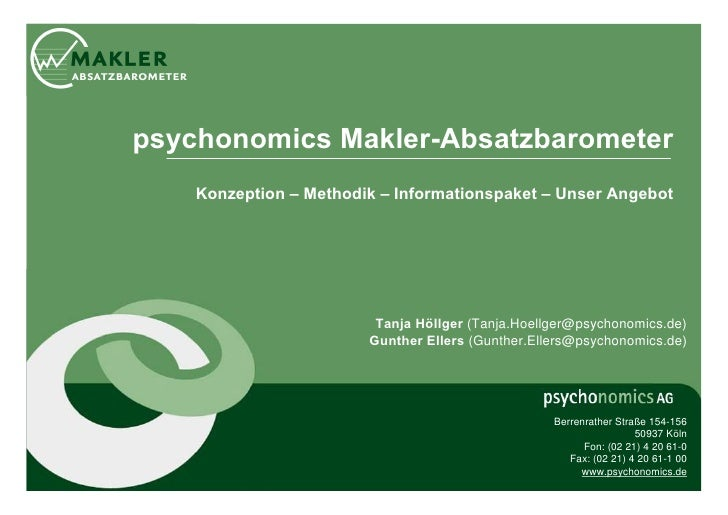 psychonomics Makler-Absatzbarometer    Konzeption – Methodik – Informationspaket – Unser Angebot                         T...