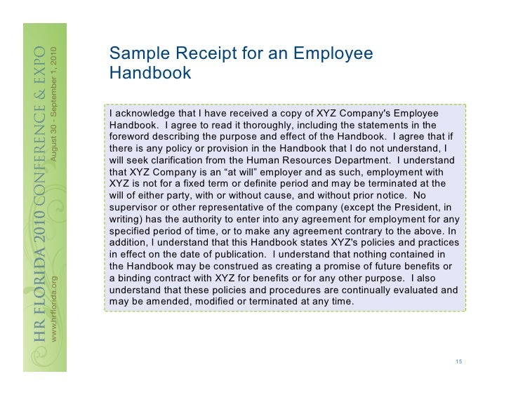14; 15. Sample Receipt For An Employee Handbook ...