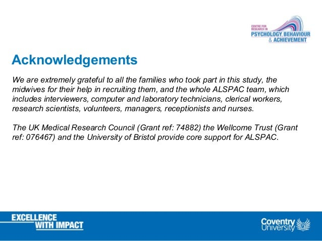 Acknowledgements We are extremely grateful to all the families who took part in this study, the midwives for their help in...