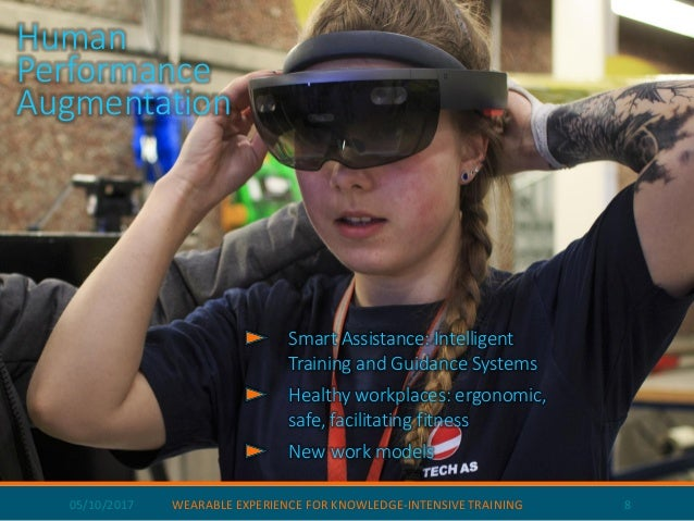 05/10/2017 WEARABLE EXPERIENCE FOR KNOWLEDGE-INTENSIVE TRAINING 8 Human Performance Augmentation Smart Assistance: Intelli...