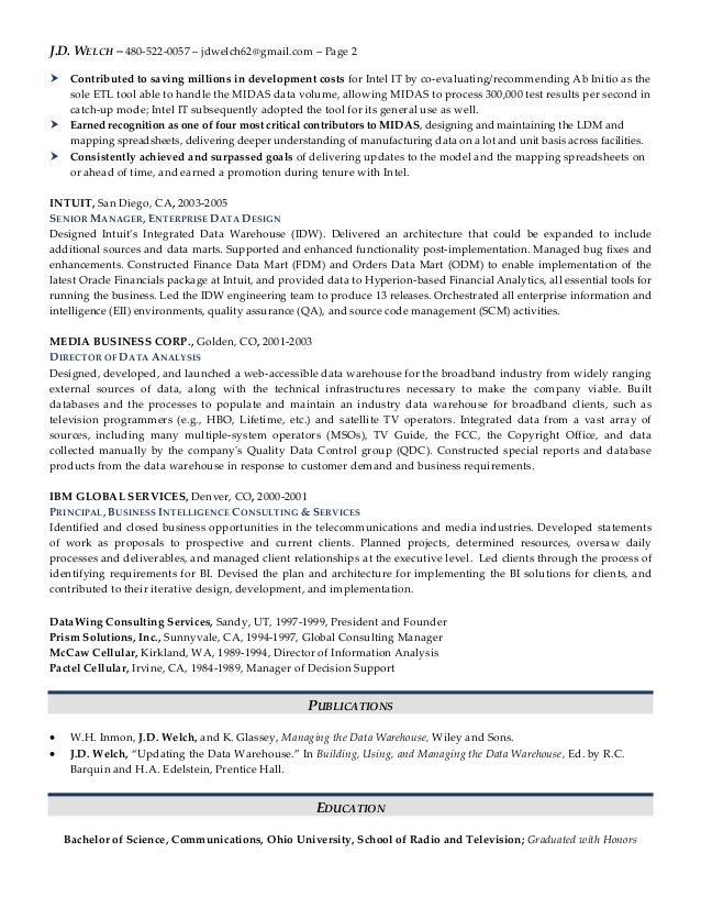 J.D. Welch Senior Data Architect Resume