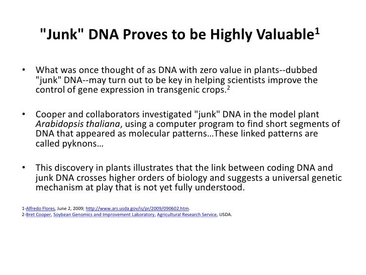 &quot;Junk&quot; DNA Proves to be Highly Valuable1<br />What was once thought of as DNA with zero value in plants--dubbed ...