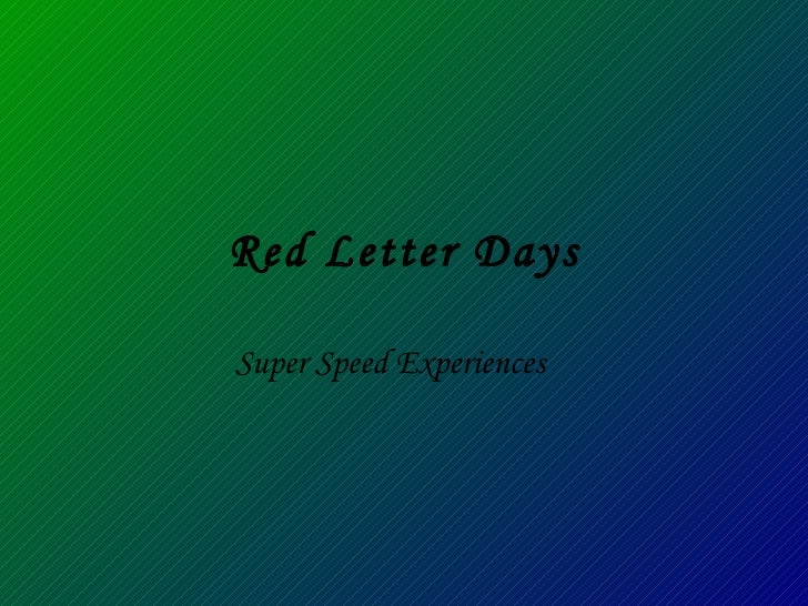 Red Letter Days Super Speed Experiences