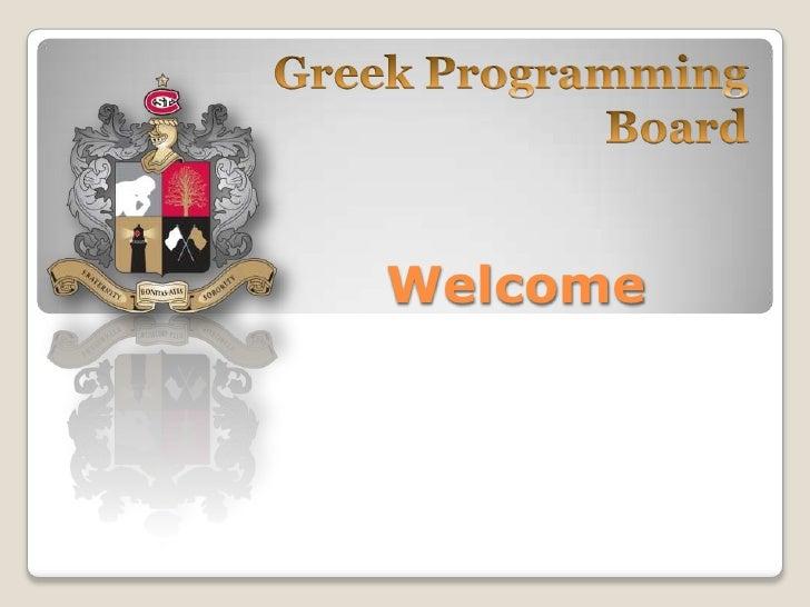 Greek Programming Board<br />Welcome<br />