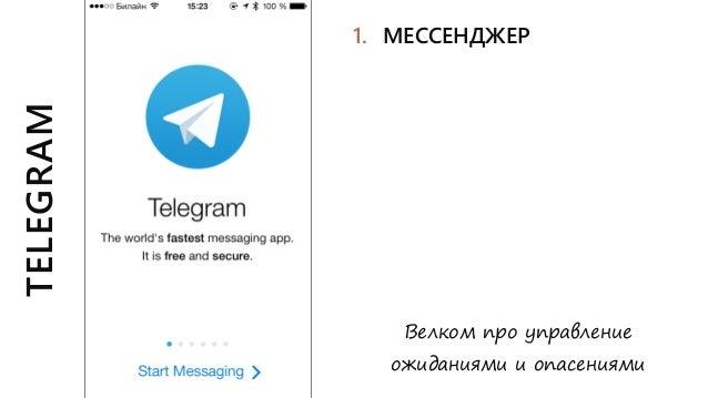 TELEGRAM Велком про управление ожиданиями и опасениями 1. МЕССЕНДЖЕР