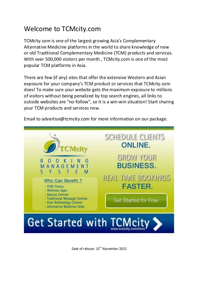 Welcome to TCMcity.comTCMcity.com is one of the largest growing Asias ComplementaryAlternative Medicine platforms in the w...