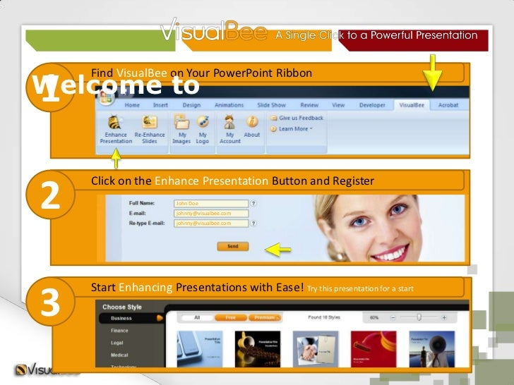Welcome to<br />Find VisualBee on Your PowerPoint Ribbon<br />1<br />Click on the Enhance Presentation Button and Register...