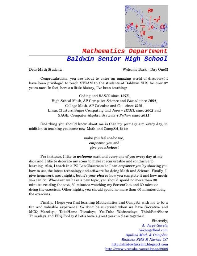 Mathematics Department Baldwin Senior High School DearMathStudent:  WelcomeBack–DayOne!!! Congratulations,...
