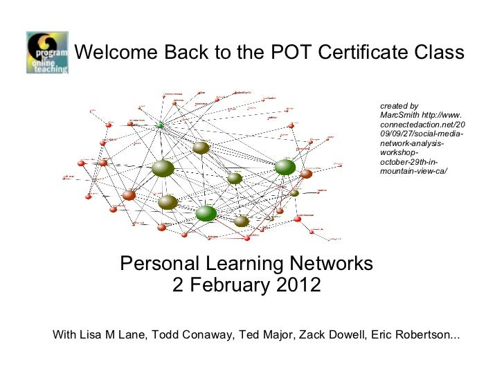 Welcome Back to the POT Certificate Class  Personal Learning Networks 2 February 2012 created by MarcSmith http://www.conn...