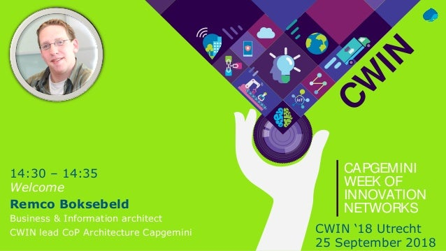CW IN CAPGEMINI WEEK OF INNOVATION NETWORKS 14:30 – 14:35 Welcome Remco Boksebeld Business & Information architect CWIN le...