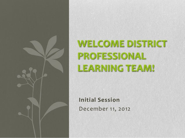 WELCOME DISTRICTPROFESSIONALLEARNING TEAM!Initial SessionDecember 11, 2012