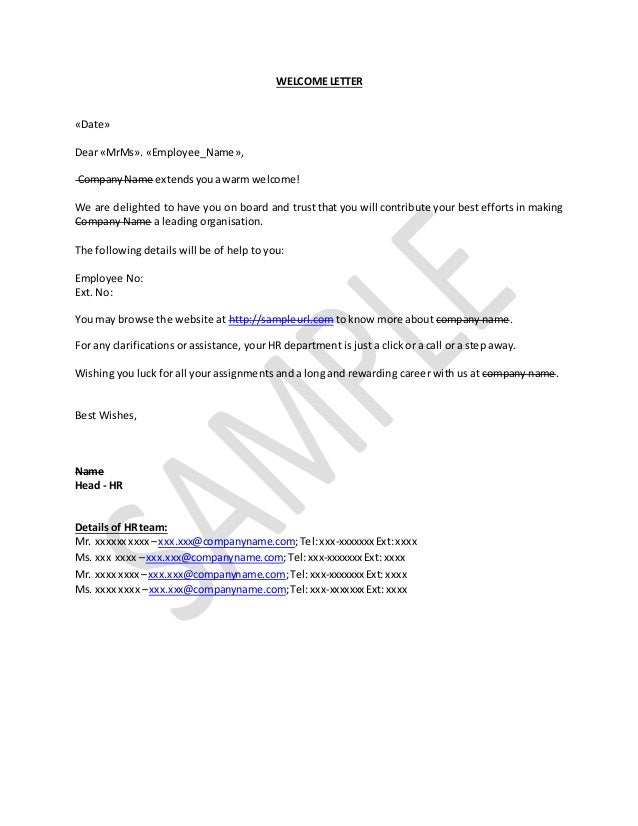 How To Write Welcome Letter For New Joinee In Company Sample Email