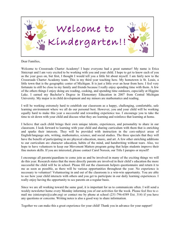 Welcome Letter To Parents From Daycare Teacher