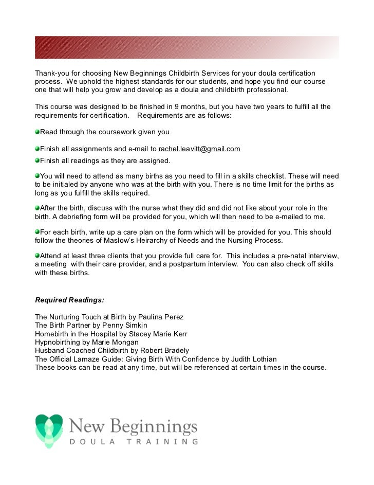 welcome letter for new beginnings doula certification