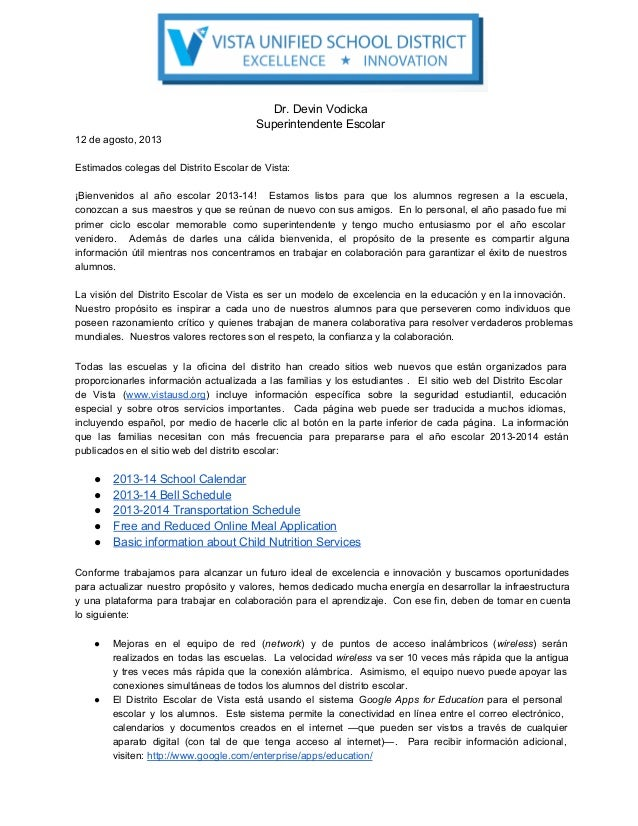 Dr.DevinVodicka SuperintendenteEscolar 12deagosto,2013 EstimadoscolegasdelDistritoEscolardeVista: ¡Bienvenidos...