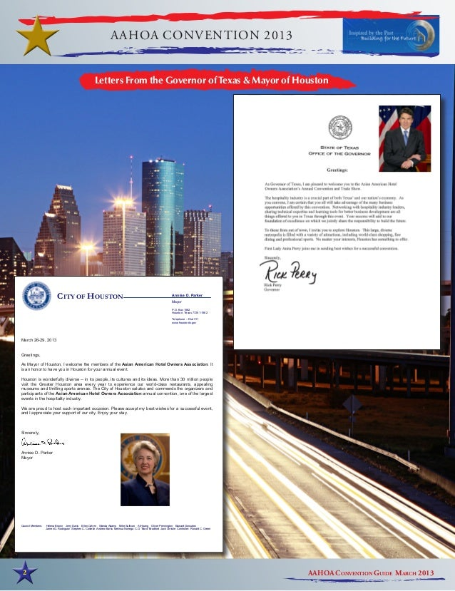 AAHOA CONVENTION 2013                                                         Letters From the Governor of Texas & Mayor o...