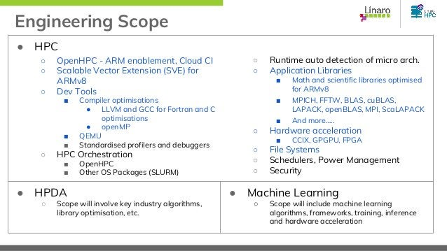Engineering Scope ● HPC ○ OpenHPC - ARM enablement, Cloud CI ○ Scalable Vector Extension (SVE) for ARMv8 ○ Dev Tools ■ Com...