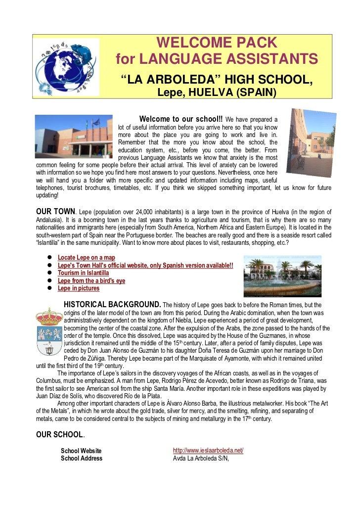 "WELCOME PACK                                  for LANGUAGE ASSISTANTS                                    ""LA ARBOLEDA"" HIG..."