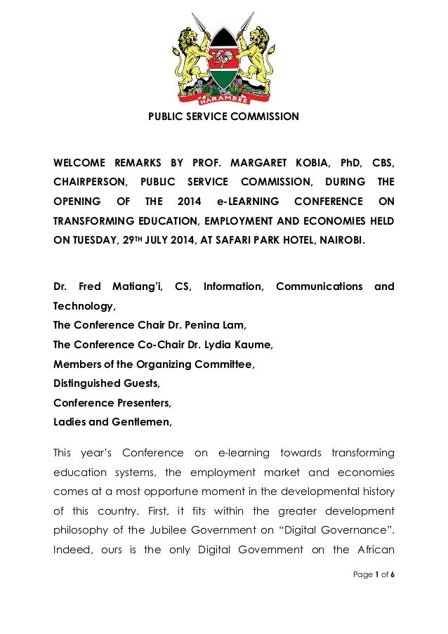 Page 1 of 6 PUBLIC SERVICE COMMISSION WELCOME REMARKS BY PROF. MARGARET KOBIA, PhD, CBS, CHAIRPERSON, PUBLIC SERVICE COMMI...