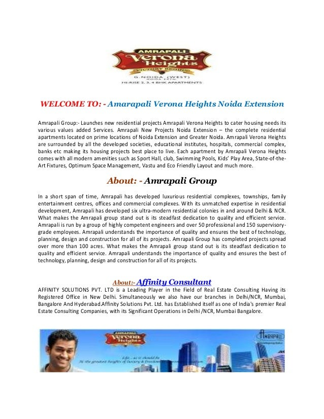 WELCOME TO: - Amarapali Verona Heights Noida Extension Amrapali Group:- Launches new residential projects Amrapali Verona ...