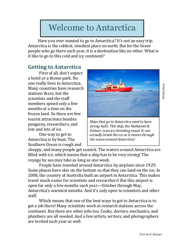 Text  by  E.  Kissner      Have  you  ever  wanted  to  go  to  Antarctica?  It's  not  an ...