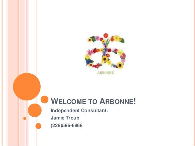 WELCOME TO ARBONNE!Independent Consultant:Jamie Troub(228)596-6868