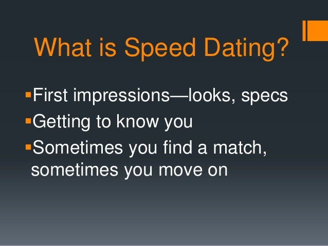 One And Only One Speed Dating